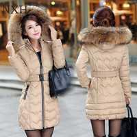 NXH nieve wadded chaqueta mujer invierno de 2018 las mujeres Chaqueta larga de algodón de abrigo de invierno de las mujeres plus tamaño parkas las mujeres