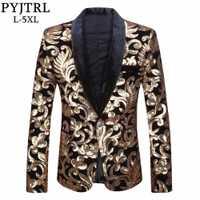 PYJTRL hombres chal solapa Blazer diseños más tamaño 5XL negro terciopelo oro flores lentejuelas traje chaqueta DJ Club escenario cantante ropa