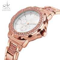 Relojes de pulsera de cuarzo de marca de lujo shengke SK0032 para mujer relojes de pulsera impermeables para mujer