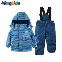 Mingkids nieve de niño ski set primavera otoño invierno al aire libre nieve caliente traje con capucha impermeable a prueba de viento tamaño europeo raya