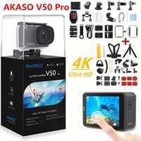 Cámara de Acción AKASO V50 PRO 4 K 30FPS pantalla táctil WiFi Control remoto deportes videocámara DVR DV go impermeable pro Cámara