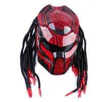 Casco de moto de fibra de carbono de cara completa de hierro guerrero de sangre demonio noche casco de moto personalidad Harley trenza casco de montar