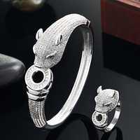 Blucome De Luxe Marque léopard Animal Bracelet pour Hommes Accessoires Parfait Cubique Bijoux De Mariage Zircone Femmes Bracelet & bangles