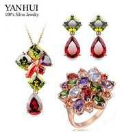 Yanhui 3 unids/Sets marca moda 24 K oro llenó la joyería nupcial Sets lujo circón cristal colorido joyería bijoux conjunto HS036