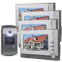 Diyseucr 7 pulgadas color LCD video door Phone entrar Intercom Timbres de puerta llave de la tarjeta RFID Reader LED cámara de visión nocturna 1v4