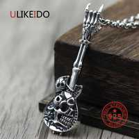 Pure 925 Sterling Silver Jewelry Guitar Charms Punk colgantes para hombres y mujeres Thai Silver Necklace Chain fino regalo 1552