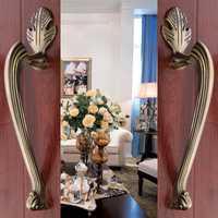 Hotel puerta armario antiguo europeo de cobre sólida puerta de madera puerta corredera manija del cajón del Gabinete (CC: 220mm, L: 305mm)