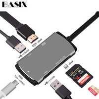 Base tipo c a hdmi USB-C USB 3,1 tipo C Hub a HDMI SD TF lector de tarjetas USB 3,0 para samsung Galaxy S8 S9 Macbook Pro