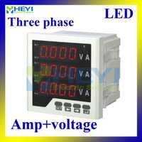 Tres fase amperímetro digital de voltaje LED tensión metros combinado AC