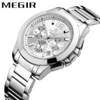 Reloj de cuarzo de moda MEGIR, correa de acero inoxidable para hombre, reloj de pulsera de negocios con fecha de 24 H, reloj de lujo de marca