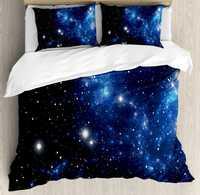 Conjunto de funda de edredón de constelación, nebulosa de estrella del espacio exterior, Grupo Astral astronómico tema galaxia misterio, juego de ropa de cama de 4 piezas