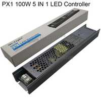 MiLight PX1 100 W 5 en 1 LED controlador de fuente de alimentación incorporada 2,4G de RF/WIFI APP/Alexa control de voz para 24 V RGB RGBW RGB + AAC de