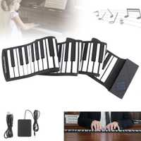 88 teclas portátil USB MIDI Roll Up Piano Electrónico silicona Flexible teclado órgano con Pedal de apoyo