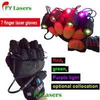 RGB láser guante para Stage show party Decoración DJ Club láser Guantes con 7 unids lasers (2 unids violet + 3 unids rojo + 2 unids verde)