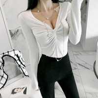 Nueva llegada de invierno camiseta ropa coreana profundo V-cuello camisa de manga larga mujeres streetwear t camisa harajuku ulzzang