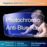 1.67 lentilles optiques Anti-Blue Ray asphérique photochromique gris lentille de lecture d'ordinateur de Correction de Vision de Prescription