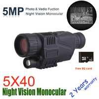 Monóculo de visión nocturna Digital infrarrojo WG540 con tarjeta TF de 8G oscuro completo 5X40 200M de caza de alcance óptica de visión nocturna Monocular