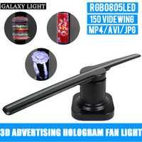 Nuevo caliente publicidad luz del logotipo LED portátil Universal 3D holográfica de la pantalla de publicidad Fan holograma para puerta y al aire libre