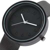 Reloj de cuarzo estilo minimalista números cortos reloj de pulsera Unisex redondo de alta calidad de malla de acero inoxidable hombres mujeres reloj 2017