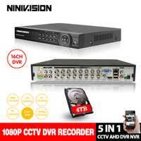 AHD DVR 16ch P 1080 p Sistema de Vigilancia del hogar 16 canales de seguridad CCTV DVR video grabadora p HDMI 1080 p 16 canales AHD DVR NVR 4 tb