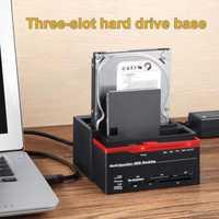 3 fentes support de disque dur 2 Port USB multi-fonction Base de disque dur pour lecteur de carte GDeals
