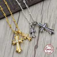 S925 Sterling Collier En Argent Personnalité simple sauvage style croix d'or collier pendentif Classique couple style chandail chaîne Envoyer