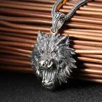 La joyería de la plata esterlina 925 de la cabeza de lobo hombres colgante (FGL)