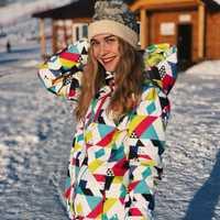 Traje de esquí de invierno mujeres marcas 2018 alta calidad chaqueta de esquí y pantalones de nieve caliente impermeable a prueba de viento de esquí y snowboard trajes