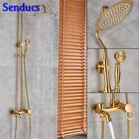Senducs latón oro ducha con precio barato baño de oro Sistema de la ducha con la calidad pulido ducha de baño conjunto