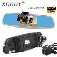 XGODY 4,3 ''Cámara del coche DVR A430H oro revisión espejo Digital Video Recorder Dash Cam Registrator videocámara Full HD 1080 P Dvrs