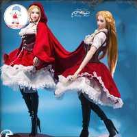 Traje femenino de escala 1/6, Caperucita Roja, conjunto de ropa gótica Lolita, zapatos de tacón alto para muñecas de cuerpo de busto grande