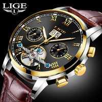 Nuevo reloj de marca de lujo LIGE de moda reloj mecánico automático para hombre relojes deportivos de cuero impermeables reloj Masculino