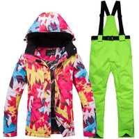 2018 nueva chaqueta de esquí de invierno las mujeres las niñas impermeable Snowboard trajes de esquí escalada nieve Mujer Pantalones de esquí senderismo Camping equipar