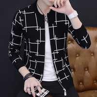 Hombres suéter chaqueta cremallera 2019 Otoño e Invierno estilo coreano hombre suéter delgado o-Cuello tendencia de prendas de vestir exteriores niño adolescente