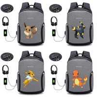Anime Pokemon Pikachu mochila de carga USB Anti-robo de bolso de mochila hombres de mochila para portátil 20 estilo