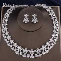 RAKOL Flor de lujo Pave Zirconia cúbica collar pendientes conjunto de joyería para mujer joyería de Boda nupcial