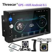 Auto Radio 2 Din Android 8,0 coche Radio 7 pulgadas 1024*600 coche reproductor de Audio navegación GPS Wifi Bluetooth reproductor Multimedia más