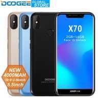 DOOGEE X70 Smartphone cara desbloquear 5,5 ''-primera 19:9 MTK6580 Quad Core 2 GB RAM 16 GB ROM Cámara Dual 8.0MP Android 8,1 de 4000 Mah