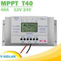 MPPT T40 40A Solaire Régulateur de Charge 12 v 24 v Auto LCD Contrôleur D'affichage avec Charge Double Minuterie Contrôle pour rue Lumière Système