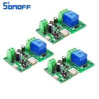 3 piezas DC 5 V 12 V 24 V 32 V Sonoff WiFi interruptor inteligente diy inteligente casa a través ios teléfono Android control remoto Módulo de automatización