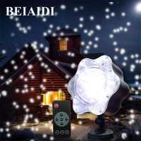 BEIAIDI giratoria nevadas Led proyector láser Navidad al aire libre jardín luz impermeable luz de la etapa del Laser para la boda