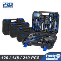 Juego de herramientas de mano Prostormer 120/148/210 piezas de la caja de herramientas de la combinación del hogar llave inglesa cuchillo destornillador con almacenamiento de plástico caso