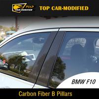 Envío gratis 100% pilares de fibra de carbono guardabarros ajuste de carbono pegatina para BMW F10 2011 hasta,, pilar de la puerta moldura para F10