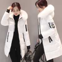 Mujer Parkas invierno damas Casual Abrigos Mujer chaquetas de invierno de las mujeres Slim de algodón con capucha Parkas abrigo Outwear 2018 FLD1268