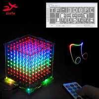 Nuevo para tarjeta TF 3D 8 8x8x8 mini multicolor mp3 Luz de música cubeeds kit de espectro de música incorporado, kit de bricolaje electrónico led