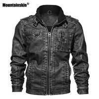 Mountainskin 7XL de la PU de los hombres chaqueta de cuero abrigo otoño Slim de cuero de imitación de motocicleta chaquetas Hombre Abrigos ropa de marca SA591