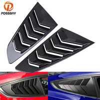 POSSBAY imitación de fibra de carbono 1/4 cuarto lado ventana primicia persianas cubierta de ventilación para Ford Mustang Fastback 2015-presente