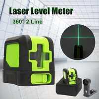 Mejor promoción 2 líneas nivel láser de 360 grados autonivelante Horizontal Vertical nivel Cruz Verde luces láser Herramientas