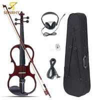 Senrhy 4/4 violín eléctrico instrumento de cuerda Basswood con accesorios Cable auriculares funda para amantes de la música principiantes