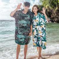 De moda más tamaño playa cubierta de 2019 de las mujeres/los hombres con capucha kaftan para nadar desgaste bikini traje de baño traje de algodón ligero playa vestido túnica